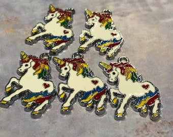 5 pcs Unicorn l Rainbow Unicorn l Enamel Charms H2