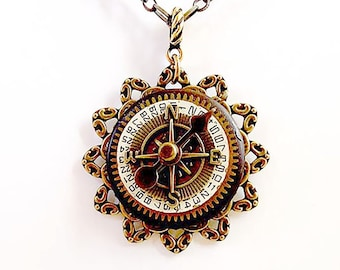 Steampunk Compass Necklace - Compass Spinner Pendant- Unique Steampunk Pendant -  Unique Steampunk Jewelry - Original Limited Edition