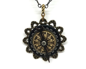 Steampunk Game Spinner Necklace - Unique Interactive Steampunk Pendant - Game Spinner Steampunk Pendant -  Unique Steampunk Jewelry