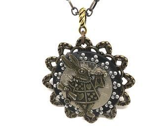 White Rabbit Necklace - Steampunk Rabbit Clock Pendant - Unique Rabbit Pendant - Garden Jewelry - Bridesmaid Jewelry - Rabbit Clock Necklace