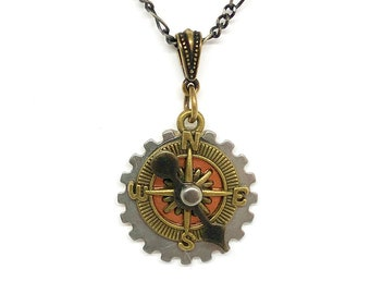 Steampunk Small Game Spinner Necklace - Unique Interactive Steampunk Pendant - Distinctive Game Spinner Necklace -  Unique Steampunk Jewelry