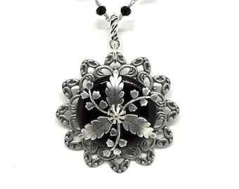 Silver Flower Pendant - Flower Necklace - Victorian Silver Filigree Flower Pendant - Unique Flower Pendant - Steampunk Flower Jewelry