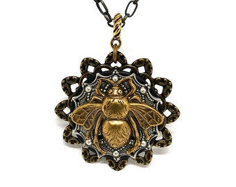 Bee Pendant - Steampunk Bee Necklace - Insect Jewelry - Unique  Bee Pendant - Garden Jewelry - Bug Jewelry - Unique Steampunk Bee Pendant