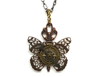 Butterfly Necklace - Steampunk Butterfly Compass Pendant - Butterfly Pendant - Insect Jewelry - Unique Steampunk Compass - Bug Jewelry