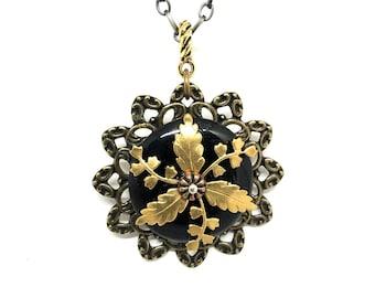 Brass Flower Pendant - Flower Necklace - Victorian Brass Filigree Flower Pendant - Unique Flower Pendant - Steampunk Flower Jewelry
