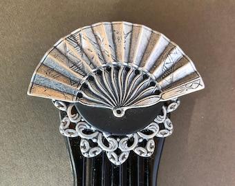 Silver Fan Hair Comb / Steampunk Silver Fan Hair Comb / Fancy Silver Filigree / Hair Comb / Mothers Day Gift