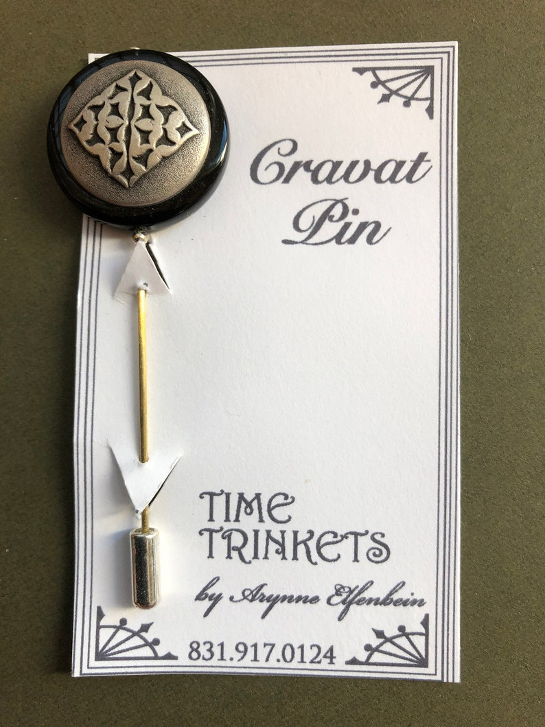 Silver Diamond Cravat Pin Menswear Distinctive Menswear Groomsmen Gift Steampunk Cravat Pin Silver Diamond Cravat Pin