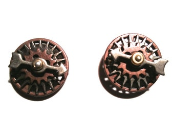 Menswear - Unique Steampunk Cuff Links - Spinner Cuff Links pewter, brass and copper - Steampunk Cuff Links - Distinctive Menswear