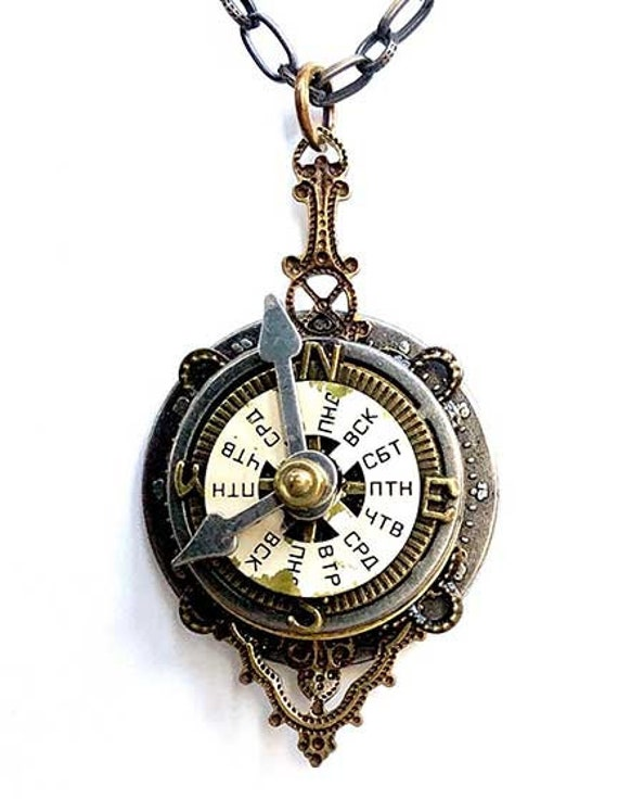 Pendant with Steampunk compass motif bag charm jewelry for clothes small gift