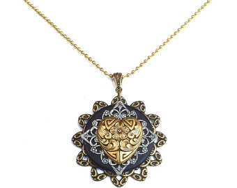 Victorian Heart  Necklace - Unique Heart Pendant - Heart Pendant - Unique Steampunk Jewelry - Steampunk Heart Necklace - Valentines Day Gift