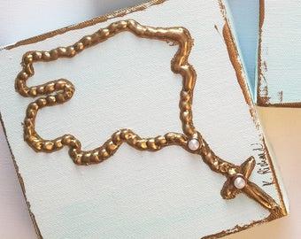 "Rosary heavy texture paint on canvas, 6""x6"""