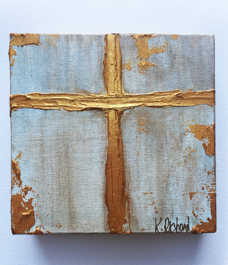Gold Cross Knife Painting gold leafing hand painted image 0