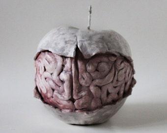 Paper mache apple Paper mache fruit Brain sculpture Paper mache brain Paper mache sculpture Apple sculpture Fruit home decor Apple decor