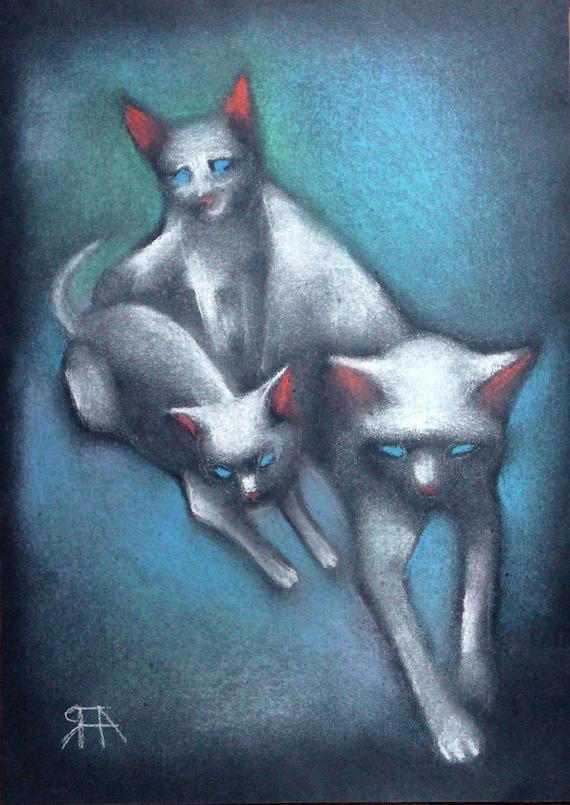 Oryginalne Pastel Kotów Obraz Trzy Koty Pastel Obraz Kot Etsy