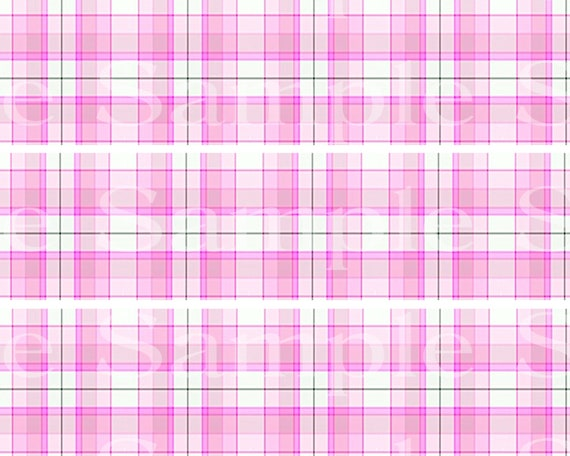 Pink Plaid Birthday - Edible 2D Fondant Cake Side Toppers - Decorate The Sides of Your Cake! - D24532