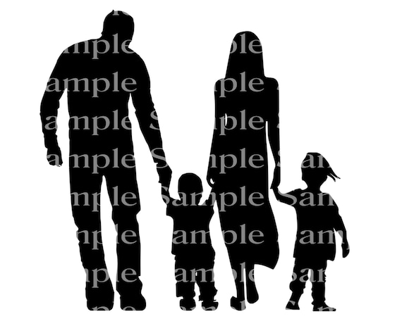 Family Silhouette Birthday - Edible Cake and Cupcake Topper For Birthdays and Parties! - D24292