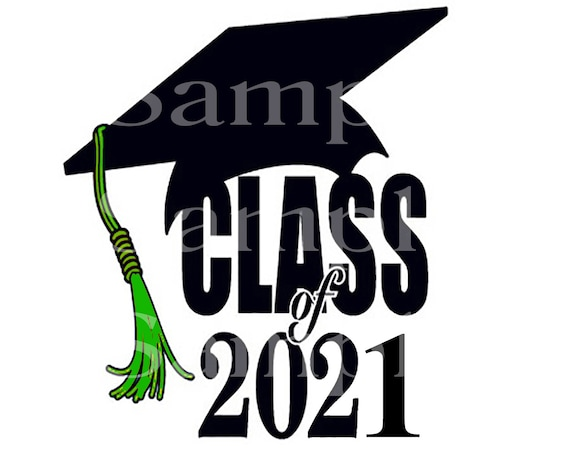 Class of 2021 Green Tassel Graduation ~ Edible 2D Fondant Birthday Cake/Cupcake Topper ~ D24575