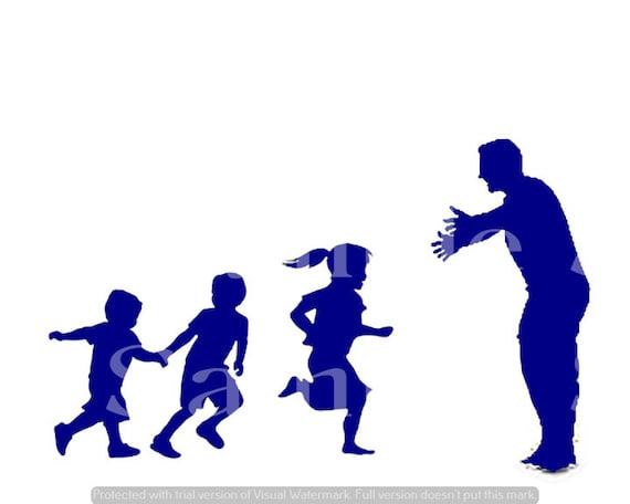 Blue Dad & Kids Silhouette Birthday ~ Edible 2D Fondant Birthday Cake/Cupcake Topper ~ D24612