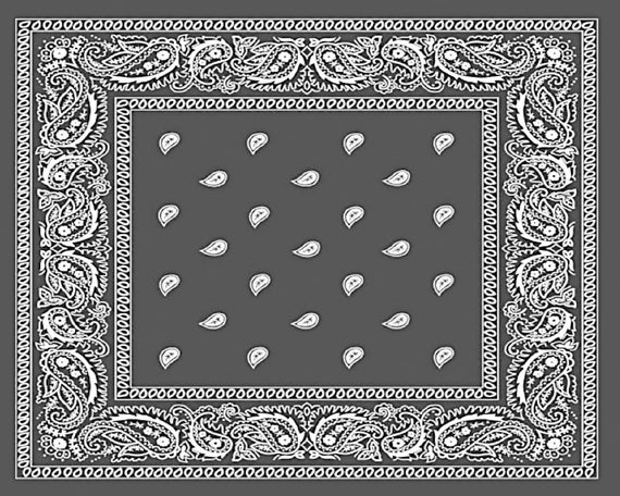 Grey Paisley Bandana Birthday - 2D Fondant Edible Cake and Cupcake Topper For Birthdays and Parties! - D24660