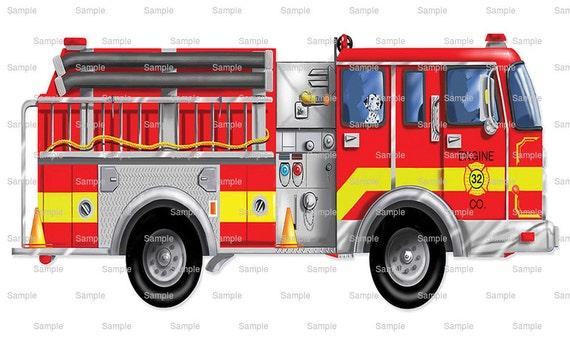 Red Fire Truck Birthday ~ Edible 2D Fondant Cake Cupcake Topper ~ D746 *