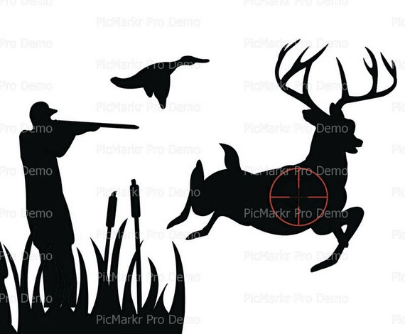 Hunting Silhouette Birthday ~ Edible 2D Fondant Birthday Cake/Cupcake Topper ~ D20629