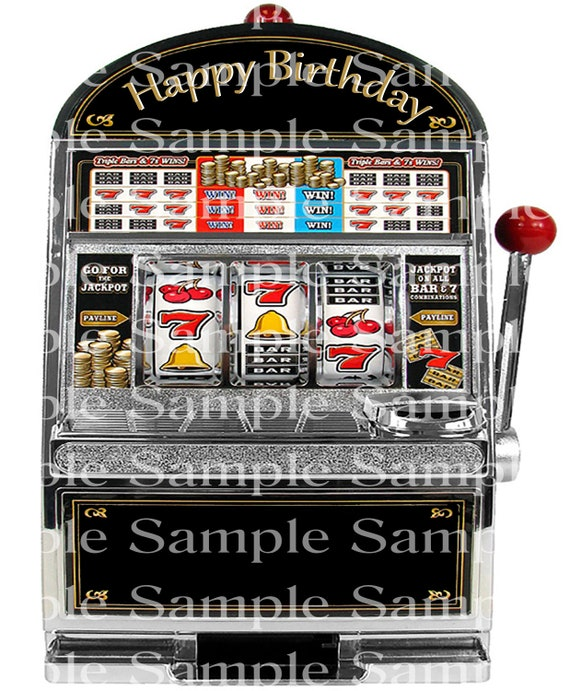 Las Vegas Casino Slot Machine Birthday - Edible 2D Fondant Cake & Cupcake Topper For Birthdays and Parties! - D24323
