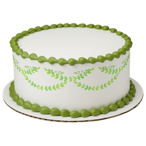 Garland Leaves Plants Birthday - Edible Cake Side Toppers- Decorate The Sides of Your Cake! - D24103