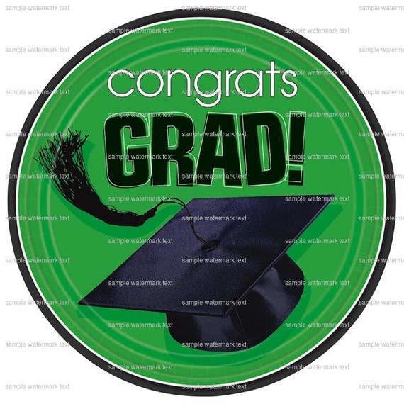 Green Congrats Grad Cap ~ Edible 2D Fondant Birthday Cake/Cupcake Topper ~ D5933