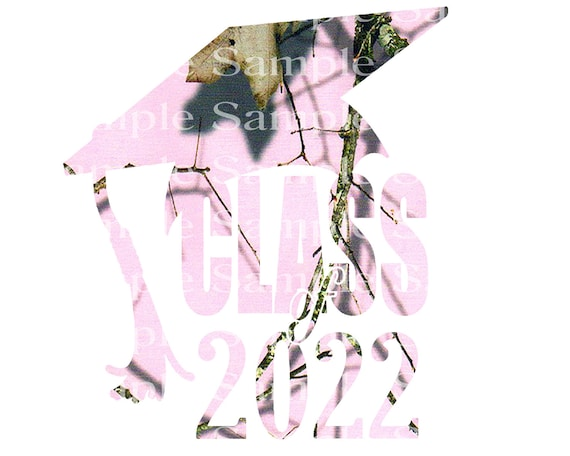 Class of 2022 Hunting Pink Camo Graduation Cap - 2D Fondant Edible Cake & Cupcake Topper For Birthdays and Parties! - D24277