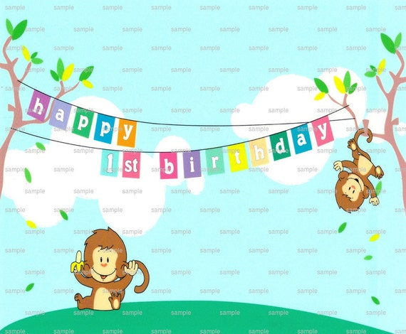 Happy 1st Birthday Monkey - Edible Cake and Cupcake Topper For Birthday's and Parties! - D971
