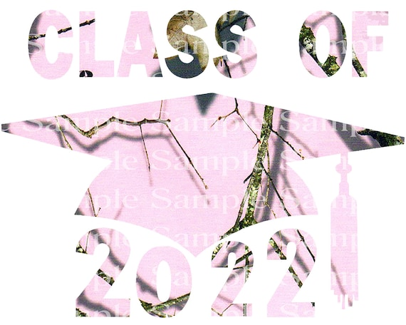 Class of 2022 Hunting Pink Camo Graduation Cap - 2D Fondant Edible Cake & Cupcake Topper For Birthdays and Parties! - D24273