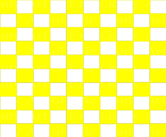 Yellow Checkerboard Birthday ~ Edible 2D Fondant Birthday Cake/Cupcake Topper ~ D24057