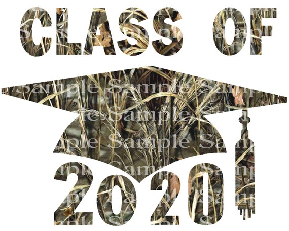 Class of 2020 Hunting Camo Graduation Cap - 2D Fondant Edible Cake & Cupcake Topper For Birthdays and Parties! - D24254