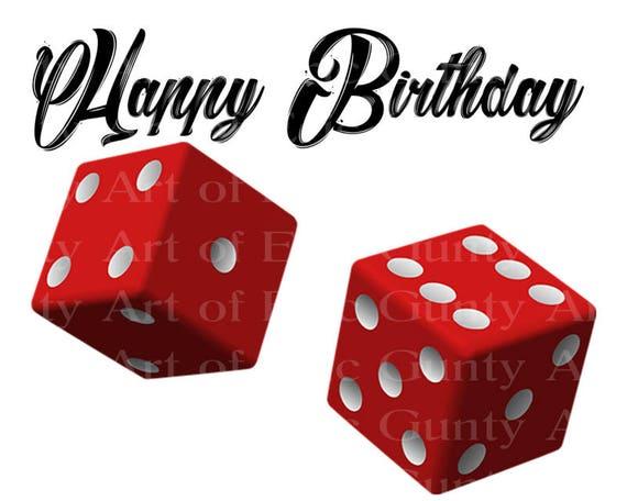 Casino Las Vegas Red Dice Happy Birthday ~ Edible 2D Fondant Birthday Cake/Cupcake Topper ~ D22909