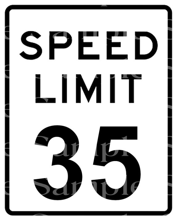 Speed Limit 35th Birthday Sign ~ Edible 2D Fondant Birthday Cake/Cupcake Topper ~ D24488