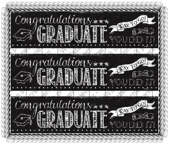 Congratulations Graduate Chalkboard - Side Strips ~ Edible 2D Fondant Birthday Cake Side Toppers ~ D530