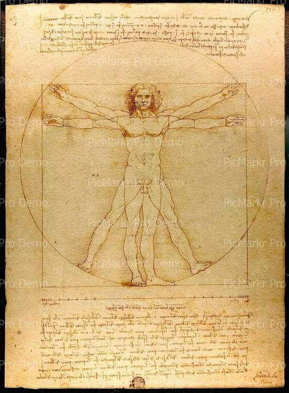 Da Vinci Vitruvian Man ~ Edible 2D Fondant Birthday Cake/Cupcake Topper ~ D20726