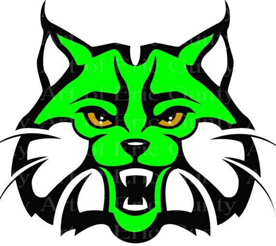 Green Bobcat Wildcat Mascot Birthday ~ Edible 2D Fondant Birthday Cake/Cupcake Topper ~ D22736