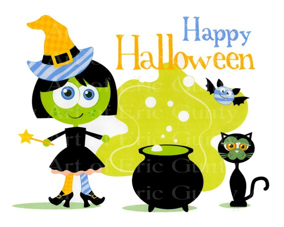 Happy Halloween Witch and Cat - Edible Cake and Cupcake Topper For Birthday's and Parties! - D22527