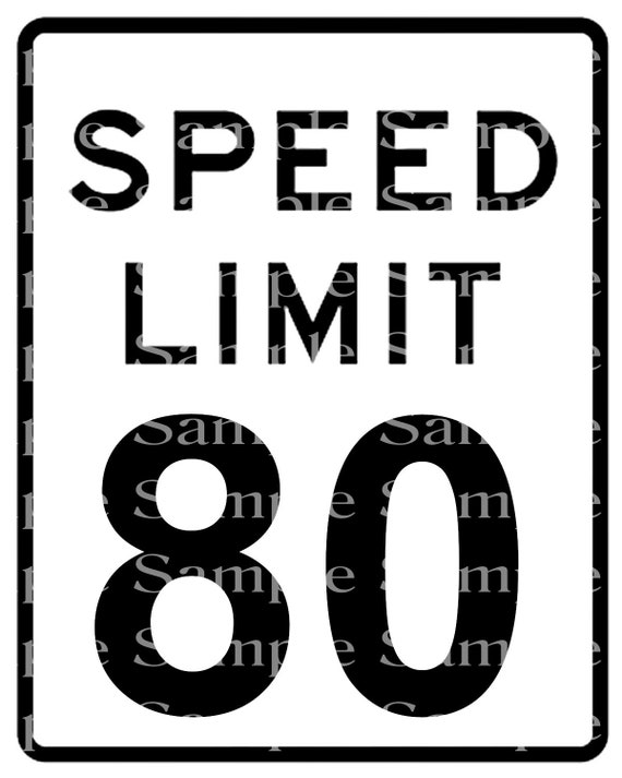 Speed Limit 80th Birthday Sign - 2D Fondant Edible Cake & Cupcake Topper For Birthdays and Parties! - D24336
