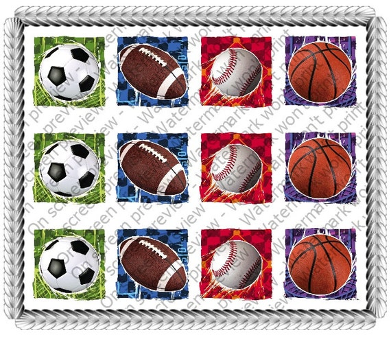 Sports Birthday Side Strips ~ Edible 2D Fondant Birthday Cake Side Toppers ~ D20023