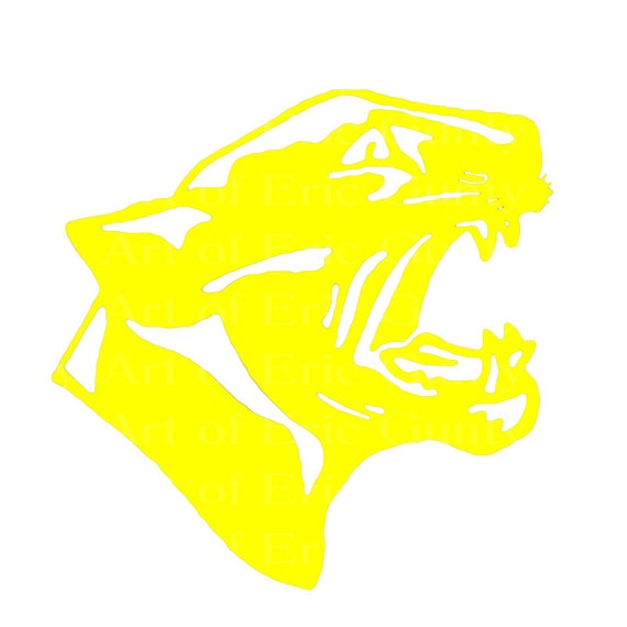 Yellow Panther Cougar Mascot Birthday - Edible Cake and Cupcake Topper For Birthday's and Parties! - D22466