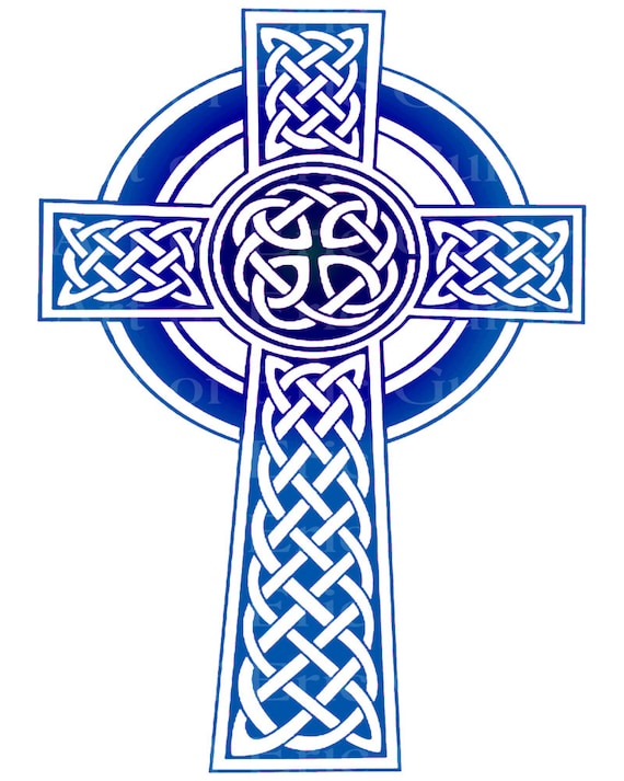 Purple & Blue Celtic Cross Birthday - Edible Cake and Cupcake Topper For Birthday's and Parties! - D22984