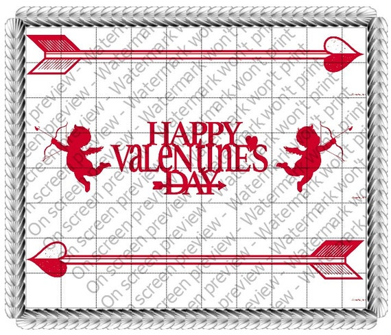 Happy Valentines Day Cupids - Edible Cake and Cupcake Topper For Birthday's and Parties! - D22023