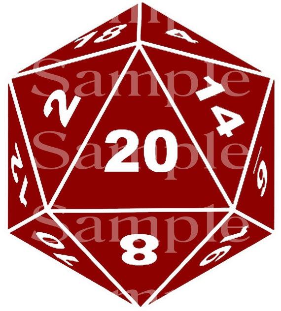 Dark Red D20 Dice Birthday ~ Edible 2D Fondant Birthday Cake/Cupcake Topper ~ D24535