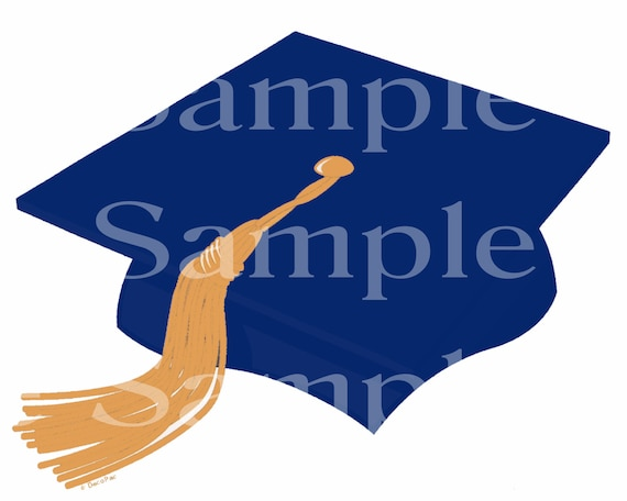 Blue Graduation Cap Birthday - Edible 2D Fondant Cake and Cupcake Topper For Birthdays and Parties! - D24412