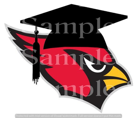 Cardinal Mascot Graduation Cap ~ Edible 2D Fondant Birthday Cake/Cupcake Topper ~ D24607