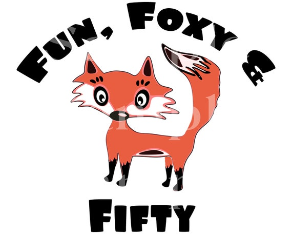Foxy 50th Birthday - Edible 2D Fondant Cake & Cupcake Topper For Birthdays and Parties! - D24146