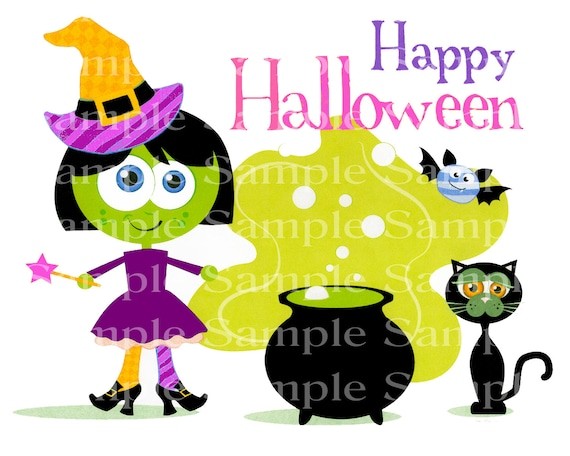 Happy Halloween Witch, Cauldron, Black Cat - Edible Cake and Cupcake Topper For Birthdays and Parties! - D24187
