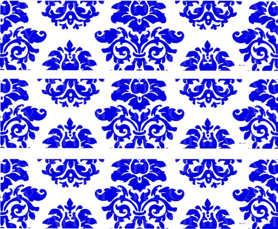 Blue Damask Birthday - Edible Cake Side Toppers- Decorate The Sides of Your Cake! - D22851